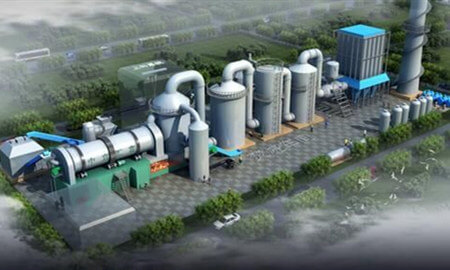 The waste pyrolysis plant in operation
